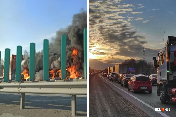Из-за пожара на Тюменском тракте образовалась огромная пробка, некоторые водители сумели объехать ее через лес
