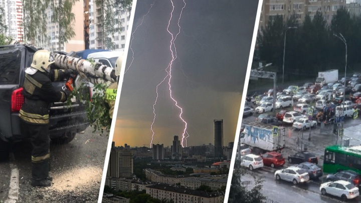 Падающие деревья, молния-убийца и транспортный коллапс: последствия урагана в Екатеринбурге