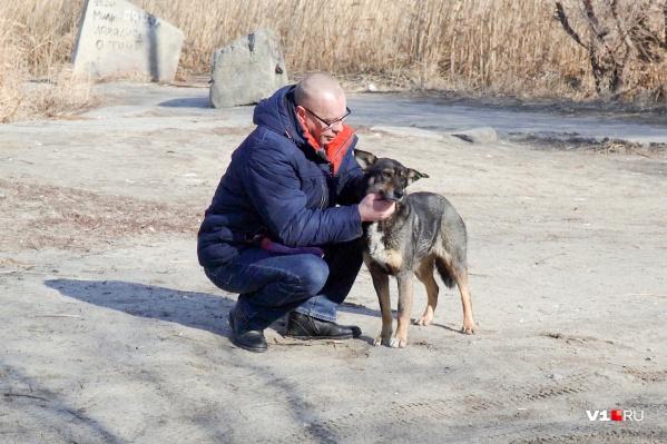 Юрий Панфилкин со спасенной из полыньи собакой