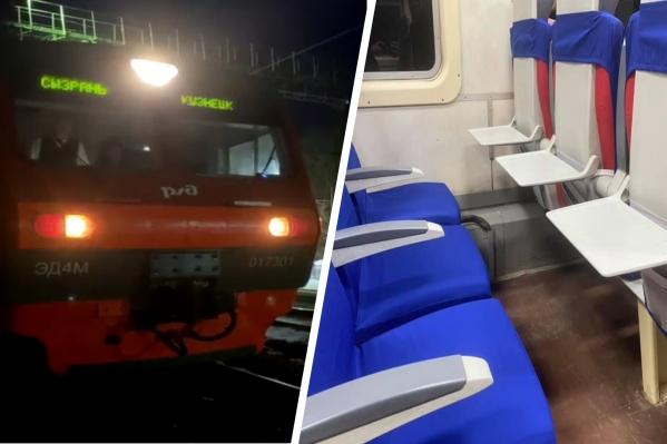 Электропоезд состоит из 4 вагонов, внутри которых мягкий салон