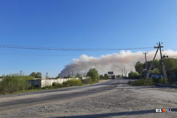 Жителей Березовского и окрестностей встревожил едкий дым на Режевском тракте