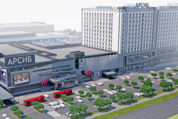 Изначально предполагалось, что новый многофункциональный комплекс будет выглядеть так. Но в ходе строительства компания поменяла свои планы