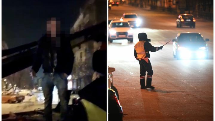 В Екатеринбурге пьяный водитель с женой и годовалым ребенком поехал ночью за алкоголем: видео