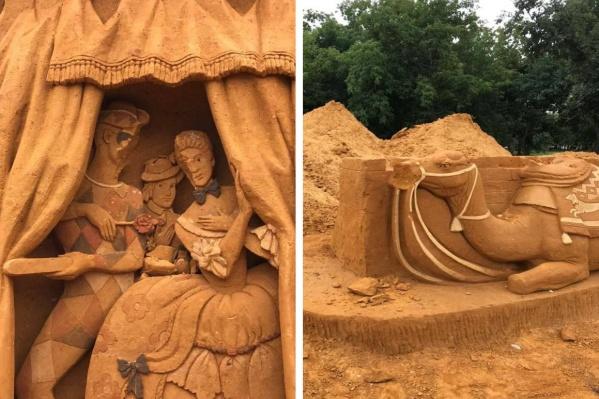 Мастера трудились над каждой скульптурой около недели, а кто-то за секунду испортил их работы