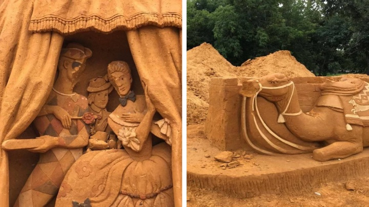 Вандалы сломали гигантские песочные скульптуры под открытым небом в Челябинске