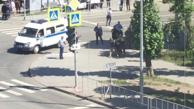 Момент задержания захватчика тюменского банка попал на видео
