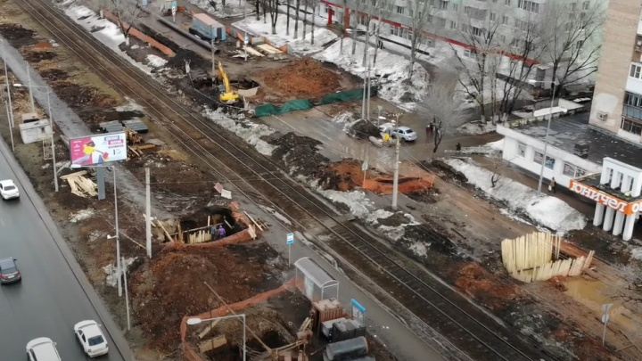 На улице Ново-Садовой разрыли дублер: видео
