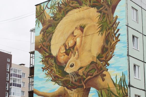 На рисунке изображено гайно (беличье гнездо), в котором мама-белка прячет своих детенышей