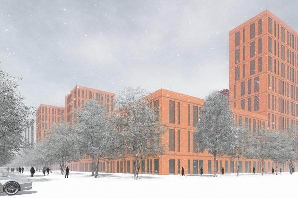 На месте торговых площадей хотят возвести жилой комплекс. На эскизе не утвержденный проект, это лишь один из вариантов, как может выглядеть территория