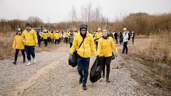 Сотрудники компании «Роснефть» в Тюмени провели субботник на берегу озера Песьяного