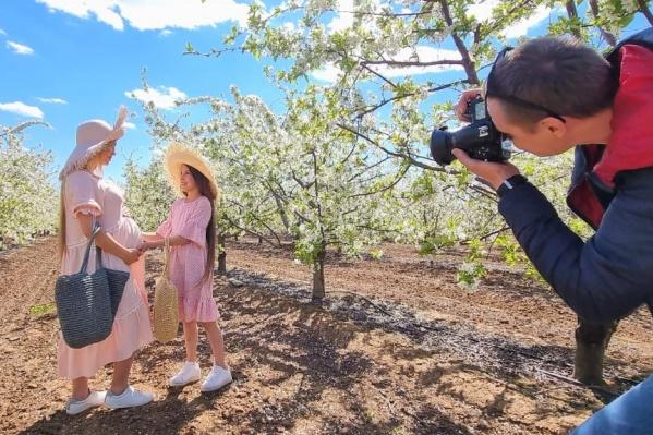 Яркий снимок на фоне цветущих деревьев наверняка станет излюбленным в портфолио фотографа