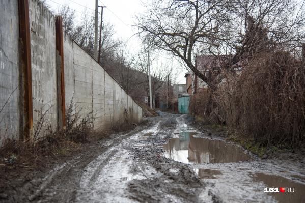 На Тернистой улице нет асфальта, а щебень, которым ее засыпали, утонул в грязи
