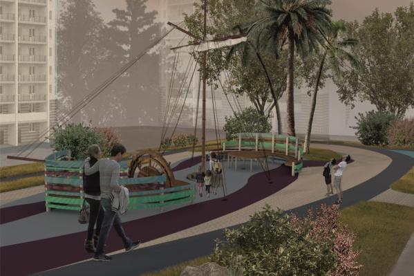 Победительница предложила главный объект во дворе — корабль с 9-метровой мачтой — обустроить и для детей, и для взрослых. Дети смогут играть у штурвала, а взрослые отдыхать за столом на «корме»