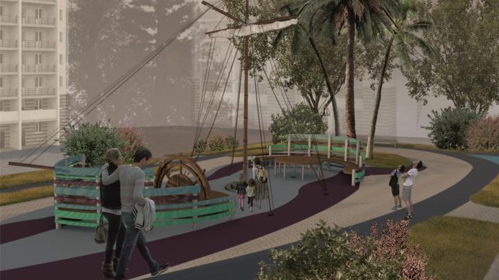 В Новосибирске сделают двор по проекту архитектора-первокурсницы — в нём есть мачта, пальмы и маяк