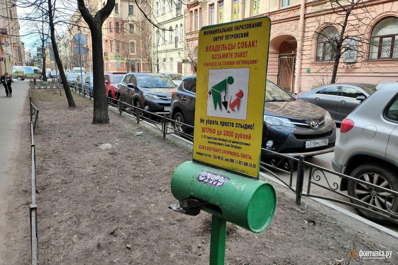 Стойки с пакетами на Гатчинской улице<br><br>автор фото Михаил Огнев / «Фонтанка.ру»