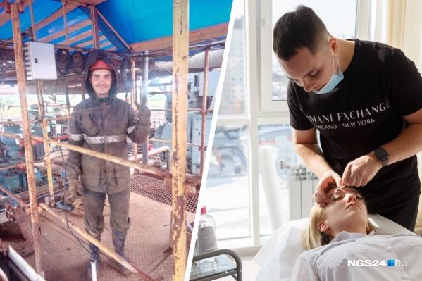 Четыре года назад Семён работал на месторождении, а сегодня делает брови сотням девушек