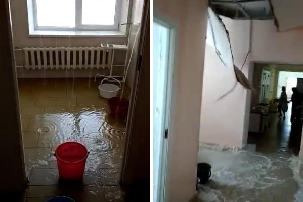 Так выглядел роддом в момент коммунального ЧП. Потолок не выдержал потока воды