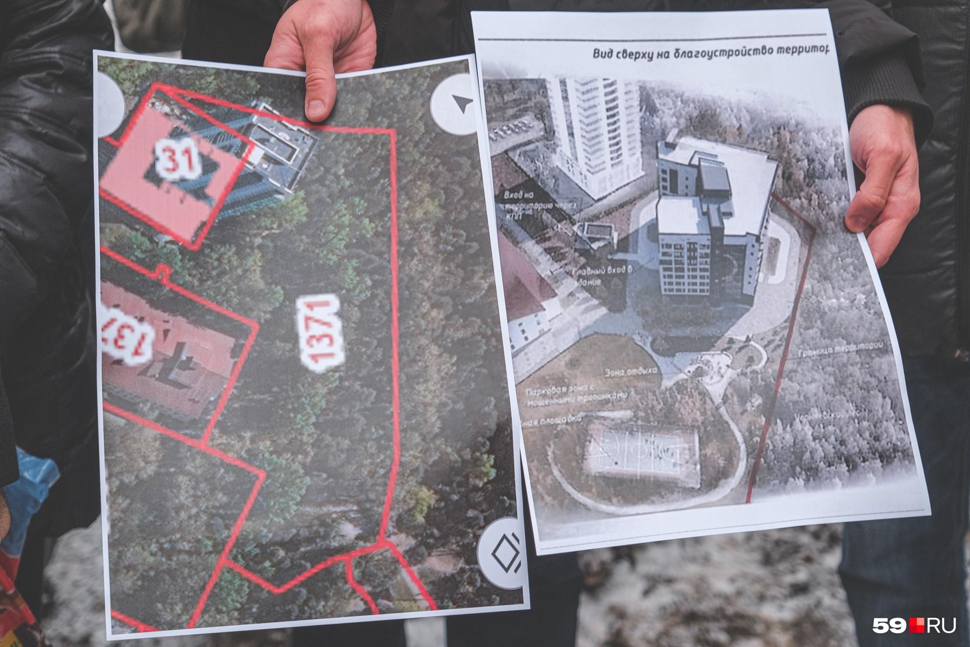 Территория, где планируют построить 10-этажное здание, и его проект
