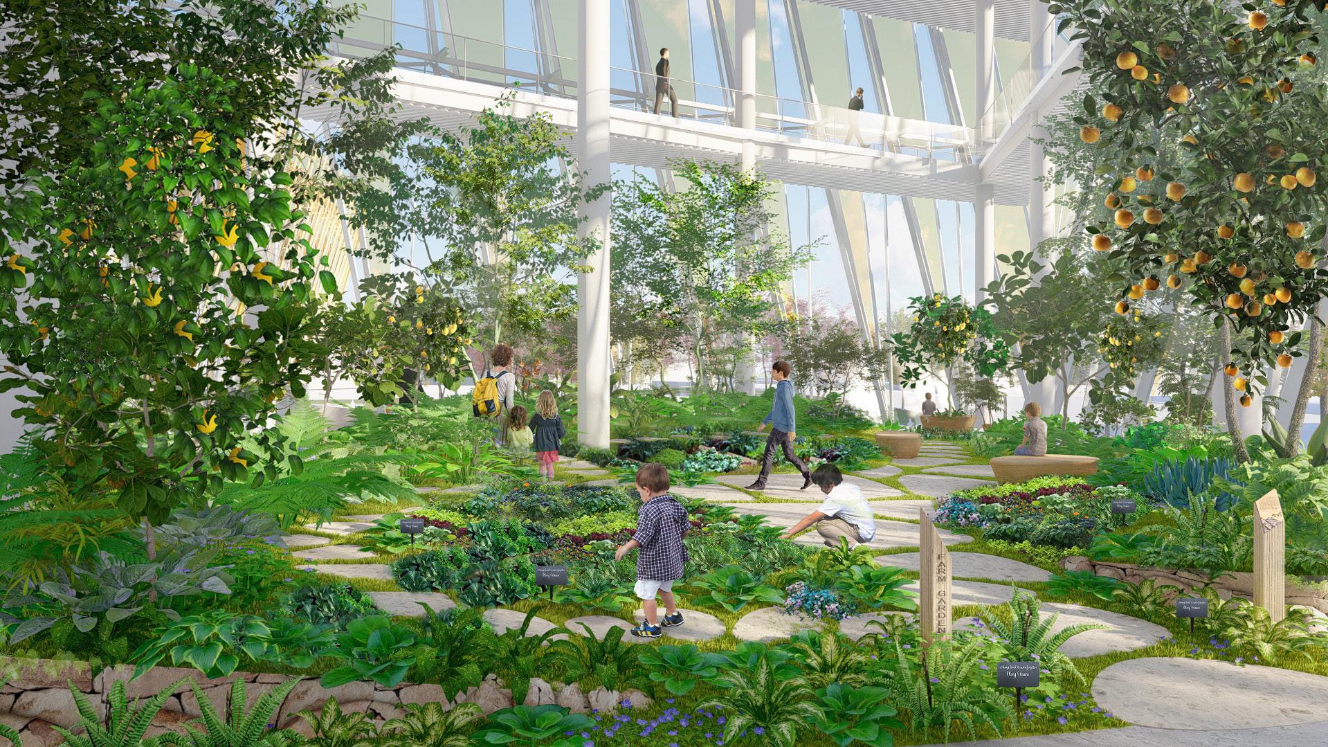Городской сад внутри комплекса