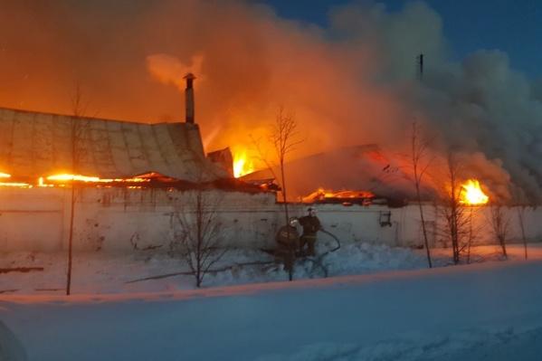 Пожар начался на территории хозяйственного корпуса и быстро распространился по крышам