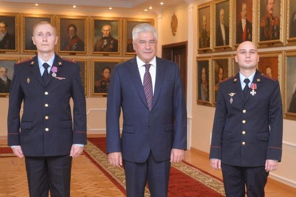 Слева направо: Владимир Макаров, Владимир Колокольцев, Константин Калинин