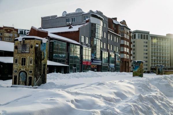 Вот так Литературный бульвар выглядит зимой. Каждый собственник чистит свой вход отдельно