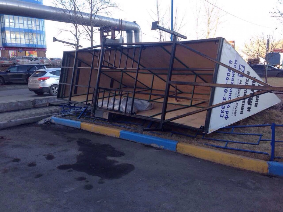 ВКрасноярске сильный ветер сорвал крышу создания иповалил деревья