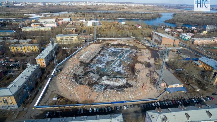 Сверху виднее: забиты первые сваи нового стадиона «Енисей»