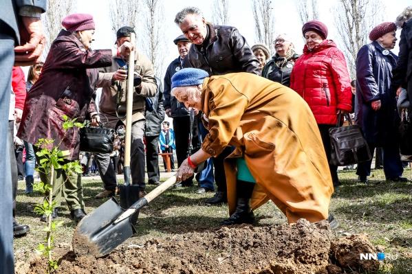 Ветераны тоже сажали деревья. Фото: Наталья Бурухина