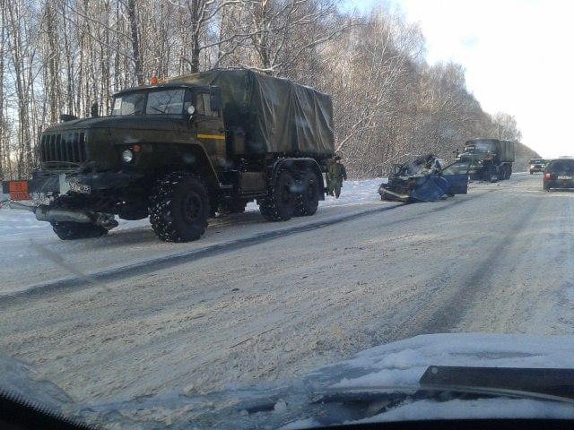 ВНижегородской области военный «УРАЛ» раздавил иномарку: двое погибших