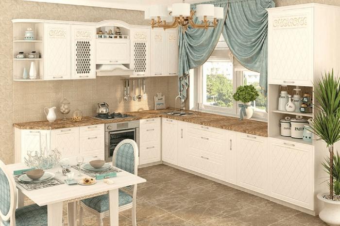 Этот элегантный белоснежный кухонный гарнитур так и хочется дополнить текстилем и аксессуарами мятных оттенков.  При покупке роскошной модели «   Тиффани   » сейчас вам подарят столешницу и мойку. 125 250 руб.