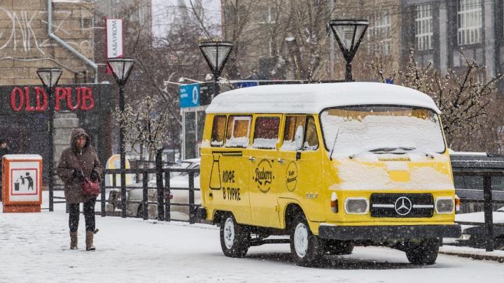 Красивый снегопад с крупными снежинками скрыл весеннюю грязь в Новосибирске