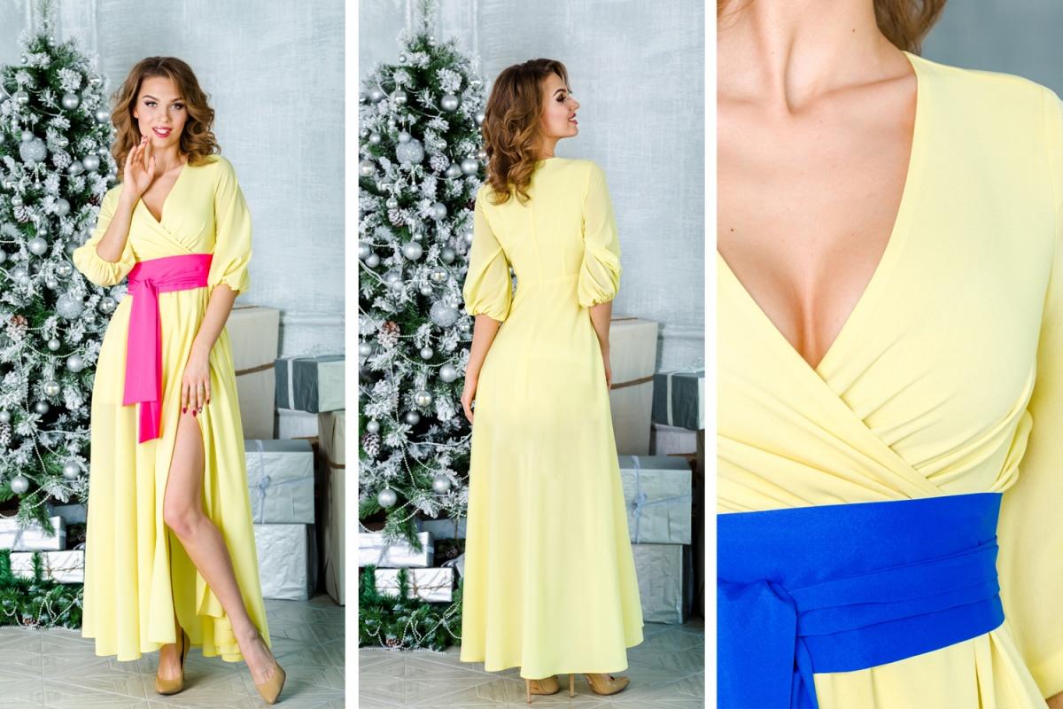 Великолепное лимонное платье с модным запáхом. Контрастный широкие пояс акцентирует внимание на талии и визуально делает ее тоньше. От вас не отвести глаз! Пояс-кушак вы получаете в подарок. Цвета предоставляются на выбор.  5000 руб.