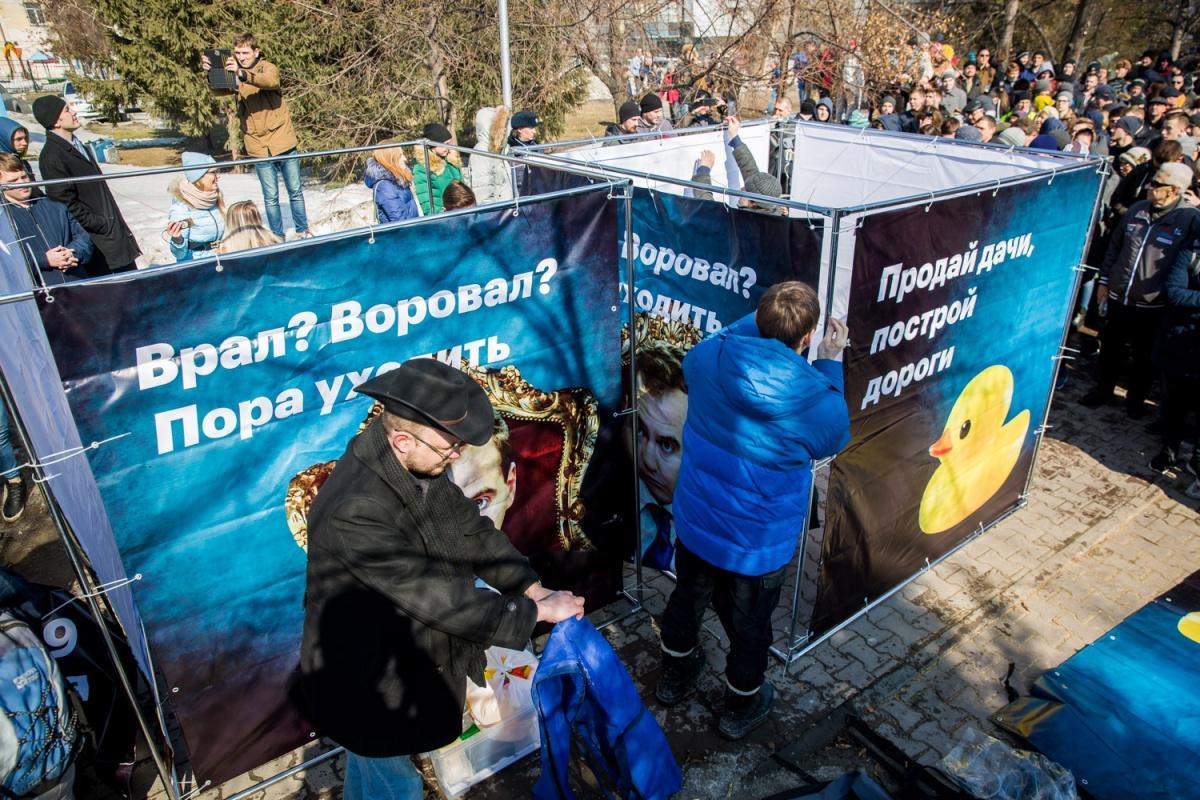 «Уточка Медведева» на плакатах новосибирцев