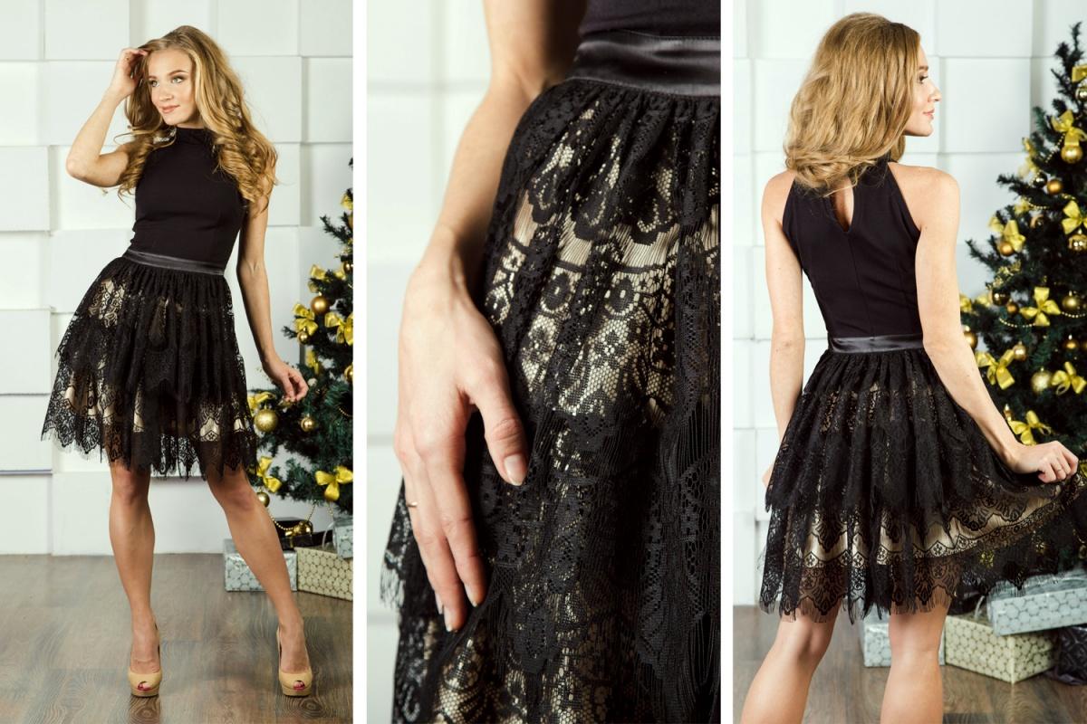 Прелестный образ для празднования Нового года помогает создать это очаровательное игривое платье. Эклектичная модель выполнена из комбинированных фактур трикотажа (верх) и кружева (юбка).  3900 руб.