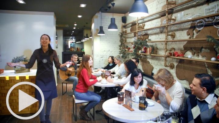 Новогодний флешмоб в новой кофейне Traveler's coffee
