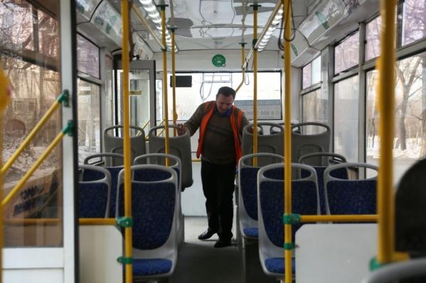 Досмотр в троллейбусе