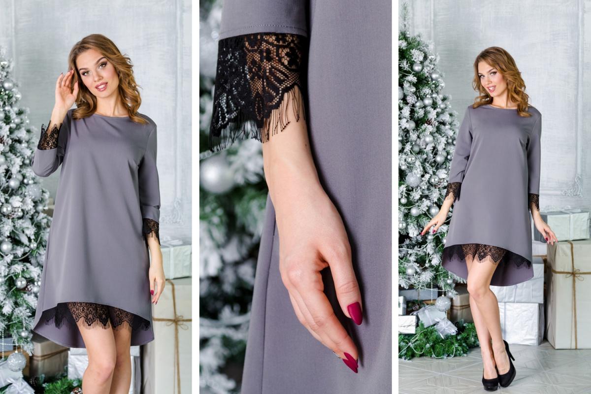 Необыкновенно стильное платье свободного силуэта с асимметричной юбкой выполнено из дорогой костюмной ткани. Будто бы выглядывающее кружево притягивает внимание к ногам и запястьям и тем самым придает образу нотки соблазнительности.  2700 руб.