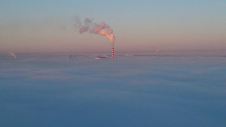 Город погрузился в густой туман из-за резкого похолодания