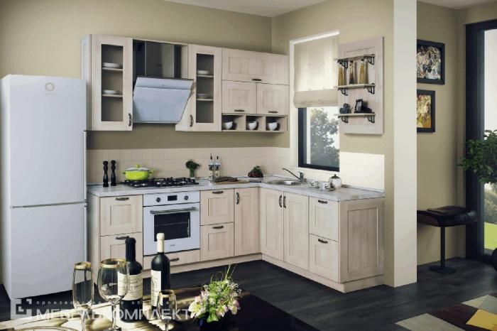 Стильный вариант для небольшой кухни — модель « Лаконичная ». Рамочные фасады стали простым и невероятно запоминающимся решением, в которое сложно не влюбиться.  67 100 руб.