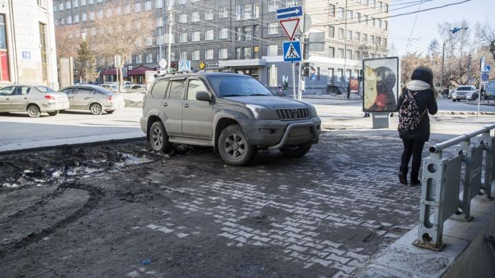 Новосибирские водители массово припарковались на «газоне Миши Алояна»
