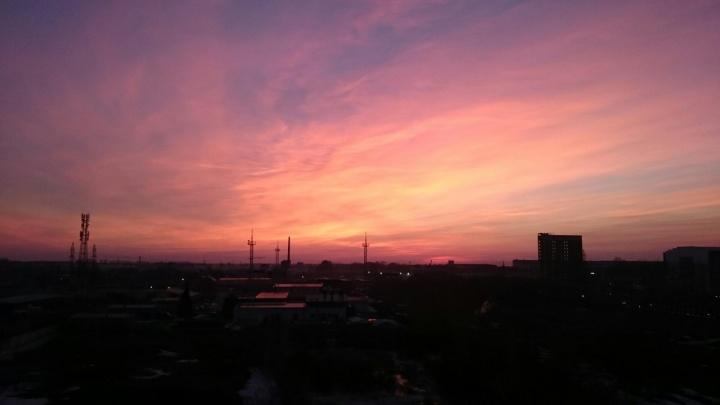 Новосибирцев восхитил лилово-розовый закат