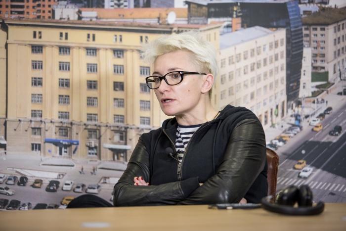 Диана Арбенина в пресс-центре НГС