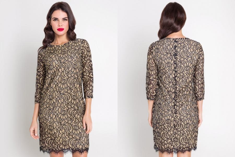 25a9c84f7f6a6f2 Ультрамодное платье-футляр прямого кроя. Фактурное кружево контрастирует с  золотисто-телесным цветом платья