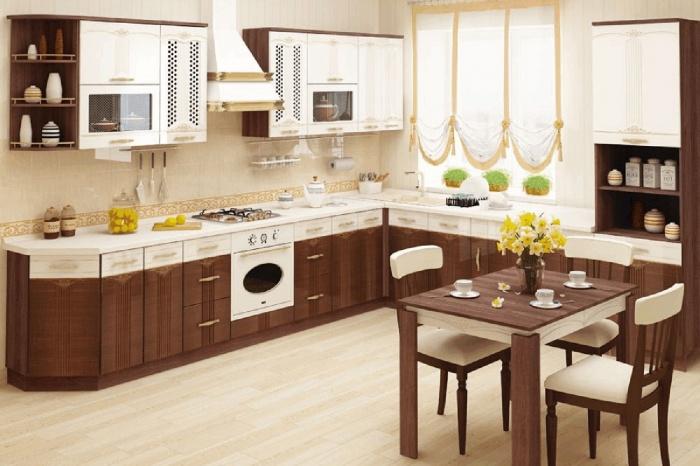 Модульная кухня « Каролина » изобилует элегантными деталями. Классическое сочетание контрастных оттенков, карамельный глянец фасадов, изящный рисунок и легкая позолота — удачные ингредиенты городского шика.  Приобрести модель можно за 147 570 руб., каменная мойка — в подарок.