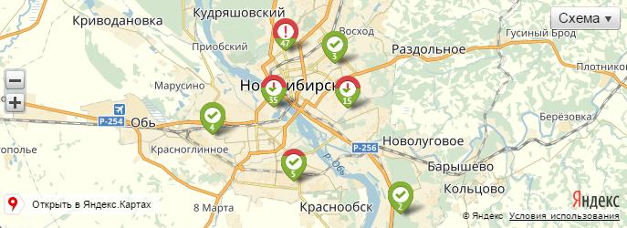 Карта бесхозных автомобилей в Новосибирске