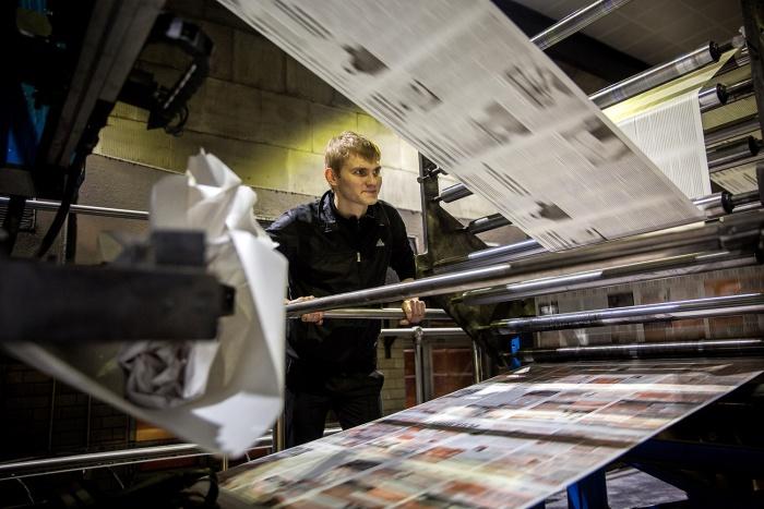 Печать газет в типографии «Советская Сибирь»