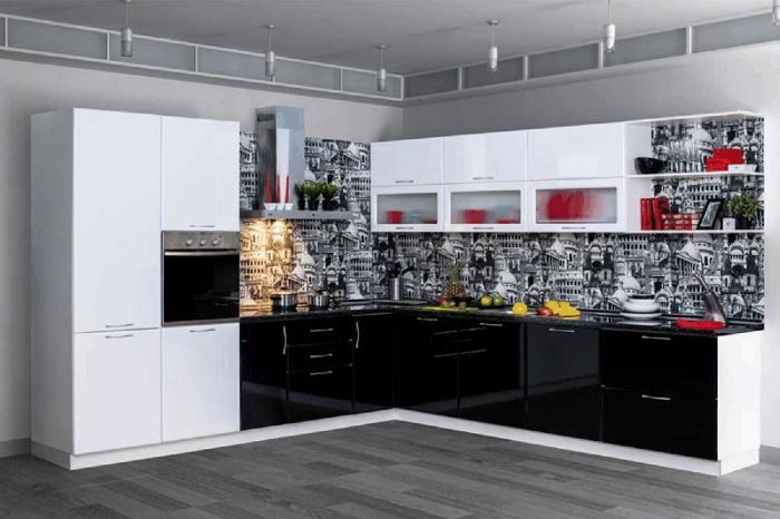 Трендовый кухонный гарнитур « Современный » блестит как зеркальные поверхности небоскребов Нью-Йорка. Стильное черно-белое сочетание идеально впишется в квартиру, оформленную в стиле модерн.