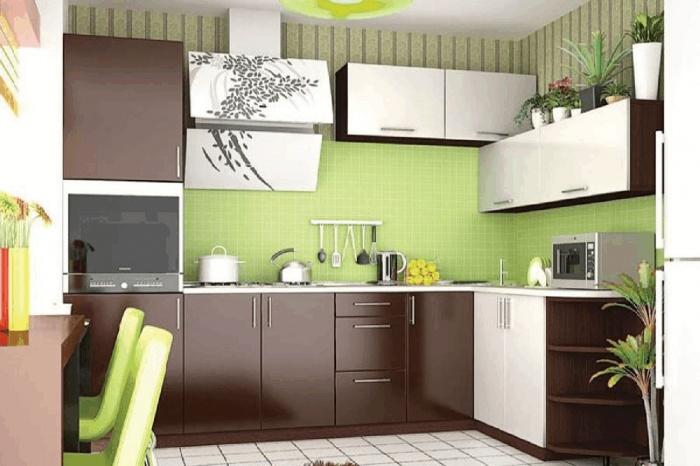 Будто глоток свежезаваренного кофе, этот  кухонный гарнитур  вдохновляет для новых свершений. Обратите внимание, как интересно оформили дизайнеры угловую зону навесных шкафчиков.  61 200 руб.