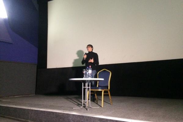 Михаил Фишман на премьере фильма «Слишком свободный человек» в Новосибирске. Фото Натальи Грединой